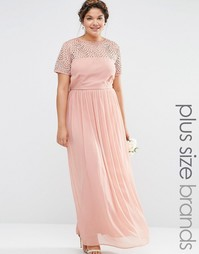 Плиссированное платье макси с отделкой жемчугом Lovedrobe - Розовый