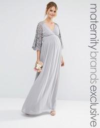 Плиссированное платье макси с кружевными рукавами для беременных Maya