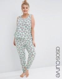 Пижамный комплект из майки и леггинсов с принтом бретцелей ASOS CURVE