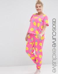 Пижамный комплект с футболкой и леггинсами с принтом ананасов ASOS CUR