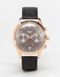 Часы с хронографом на кожаном ремешке Henry London Finchley - Черный