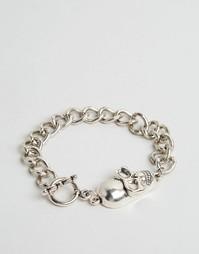 Серебристый браслет-цепочка с черепом Reclaimed Vintage - Серебряный