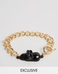 Золотистый браслет с черепом Reclaimed Vintage - Золотой