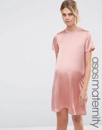 Платье-футболка для беременных с атласной вставкой спереди ASOS Matern