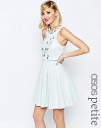 Короткое приталенное платье с кроп‑топом и отделкой ASOS PETITE