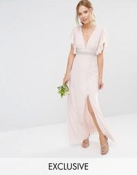 Платье макси с декорированной талией и расклешенными рукавами TFNC WED