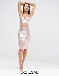 Юбка миди цвета металлик Club L - Розово-золотистый металлик