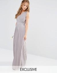 Платье макси с запахом и складками TFNC WEDDING - Опаловый серый