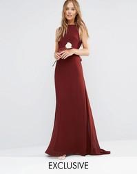 Платье макси с бантом на спинке TFNC WEDDING - Шоколадный коричневый