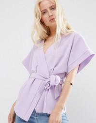 Блузка с запахом и поясом ASOS Obi - Сиреневый