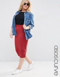 Трикотажная узкая юбка миди ASOS CURVE - Темно-бордовый