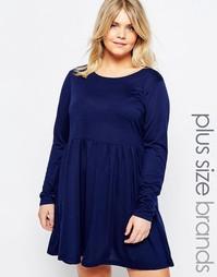Короткое приталенное платье из трикотажа Brave Soul Plus - Синий