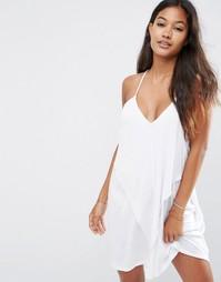 Трикотажное пляжное платье с драпировкой ASOS - Белый