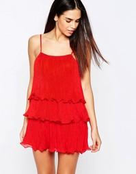 Платье со складками и рюшами Pussycat London - Красный
