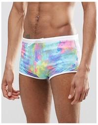 Хипстерские шорты для плавания с принтом тай-дай ASOS - Мульти