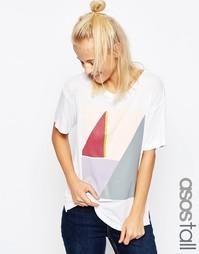 Свободная футболка в рубчик с принтом колор блок ASOS TALL - Белый