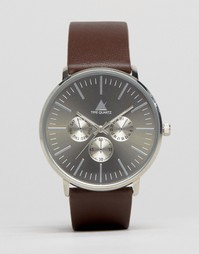 Часы с коричневым кожаным ремешком ASOS - Коричневый