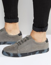 ASOS Trainers in Grey With Concealed Laces and Camo Sole - Серый