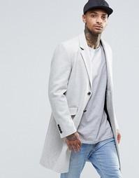 Пальто песочного цвета из меланжевой полушерстяной ткани ASOS - Stone