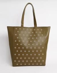 Сумка-шоппер с заклепками ASOS - Зеленый