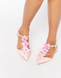 Декорированные балетки с Т-образным ремешком и острым носком ASOS