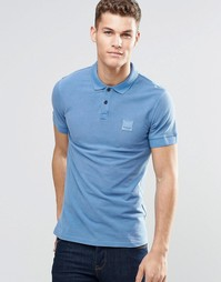 Синяя футболка-поло слим с логотипом BOSS Orange - Синий
