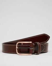 Кожаный ремень с декоративной строчкой ASOS - Коричневый