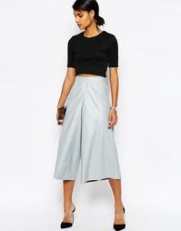 Юбка-брюки из искусственной кожи ASOS - Светло-серый