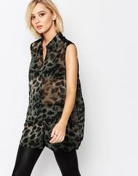 Рубашка с леопардовым принтом Religion Galant - Черный