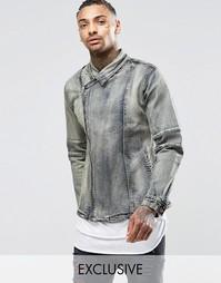 Синяя джинсовая байкерская куртка с потертостями Liquor & Poker