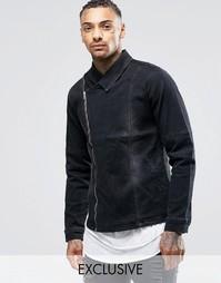 Черная джинсовая куртка с потертостями и выбеленным эффектом Liquor &