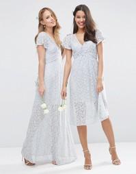 Кружевное платье макси с запахом и завязкой ASOS WEDDING - Нежно-серый