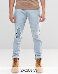 Узкие голубые джинсы из стираного денима с заплатками Liquor & Poker