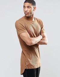 Длинная эластичная футболка в рубчик ASOS - Auburn