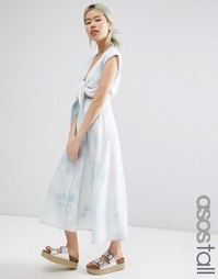 ASOS TALL Denim Look Wrap Midi Dress In Tie Dye - Синий