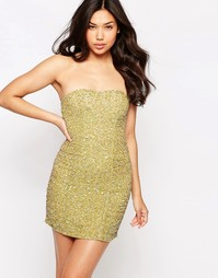 Glamorous Sequin Bandeau Dress - Stone iridescent