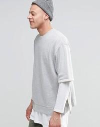 Oversize-свитшот с короткими рукавами ASOS - Серый меланж