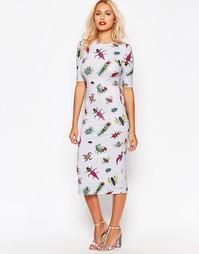 Платье миди с принтом жуков House of Holland - Серый меланж