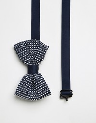 Темно-синий трикотажный галстук-бабочка ASOS Wedding - Темно-синий