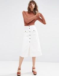 Белая вельветовая юбка миди на пуговицах ASOS - Белый