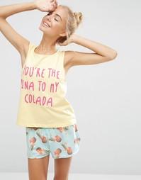 Пижамный набор из майки и шортов с принтом You're The Pina To My Colad Asos