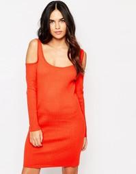 Облегающее платье‑джемпер в рубчик Girls On Film - Tomato