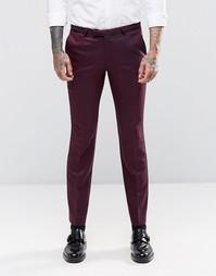 Атласные супероблегающие брюки стретч Noose & Monkey - Burgundy