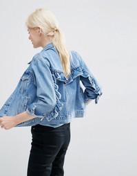 Выбеленная джинсовая куртка в стиле вестерн с оборкой ASOS