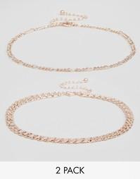 Два ожерелья-чокера с цепочками ASOS - Розовое золото