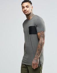Удлиненная футболка цвета хаки с карманом в стиле милитари ASOS