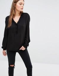 Рубашка с декоративной шнуровкой на плечах See U Soon - Черный