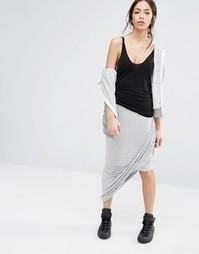 Асимметричная трикотажная юбка с запахом спереди Only