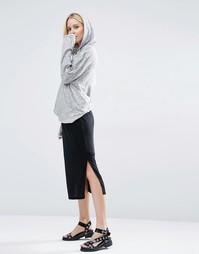 Трикотажная юбка миди с разрезами по бокам Selected Brenda - Черный