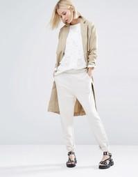 Фактурные трикотажные брюки Selected - Кремовый